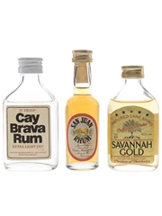 Cay, San Juan & Savannah Gold Bottled 1970s & 1980s 3 x 5cl