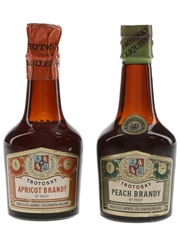 Trotosky Apricot & Peach Brandy Bottled 1950s-1960s 2 x 5cl / 24%