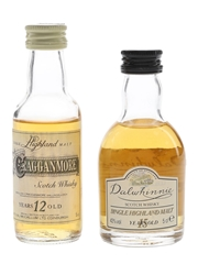 Cragganmore 12 Year Old & Dalwhinnie 15 Year Old Bottled 1990s 2 x 5cl