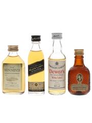 Dewar's, Dew Of Ben Nevis, Johnnie Walker Black Label & Robbie Burns Bottled 1980s & 1990s 4 x 5cl
