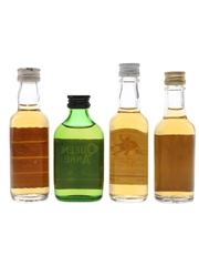 Famous Grouse, Queen Anne, Rob Roy & 100 Pipers Bottled 1970s 4 x 4.7cl-5cl / 40%