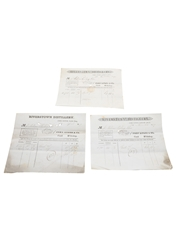 Riverstown Distillery Purchase Receipts, Dated 1849