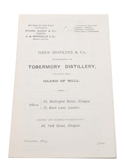Assorted Price Lists, Dated 1893 Clydesdale Malt Whisky, John Hopkins & Co., Robertson & Baxter
