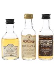 Dalwhinnie, Glen Moray & Longmorn Bottled 1990s 3 x 5cl
