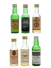 Assorted Blended Scotch Whisky Clan Campbell, Chequers, Highland Mist, Highland Queen, Roxburghe & William Lawson 6 x 5cl / 40%
