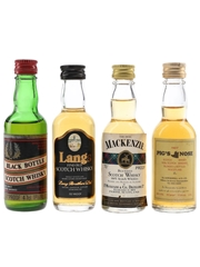 Black Bottle, Langs, Mackenzie & Pig's Nose Bottled 1970s 4 x 4.7cl-5cl / 40%