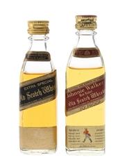 Johnnie Walker Black & Red Label Bottled 1970s 2 x 5cl