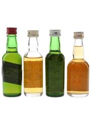 Black Bottle, Buchanan, Cutty Sark & Whyte & Mackays Bottled 1970s 4 x 5cl / 40%