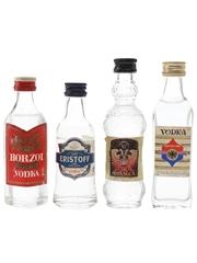 Borzoi, Dimitri, Eristoff & Rusaica Bottled 1980s 4 x 4cl-5cl