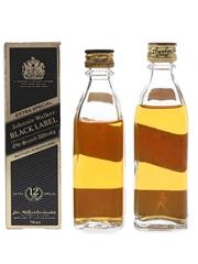 Johnnie Walker 12 Year Old Black Label & Red Label Bottled 1970s & 1980s 2 x 5cl / 40%