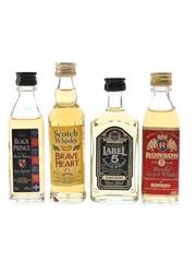 Black Prince, Brave Heart, Label 5 & Ronson Bottled 1980s & 1990s 4 x 4cl-5cl / 40%
