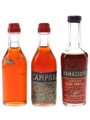 Campari & Ramazzotti Bottled 1970s 3 x 2.5cl-5cl