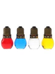 Evelt Light Bulb Liqueurs Alkermes, Curacao Bleu, Maraschino, Millefiori 4 x 3.5cl / 30%
