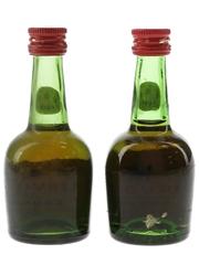 Courvoisier 3 Star Luxe Bottled 1970s 2 x 5cl / 40%