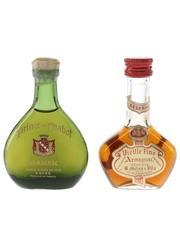 Prince De Chabot & Gelas Armagnac Bottled 1960s-1970s 2 x 3cl