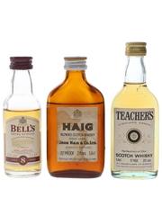 Bell's, Haig & Teacher's Bottled 1970s & 2000s 3 x 5cl-5.6cl / 40%