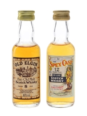 Old Elgin 8 Year Old & Spey Cast 12 Year Old Bottled 1980s 2 x 5cl / 40%