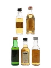 Assorted Blended Whisky Bottled 1970s & 1980s 5 x 4.7cl-5cl