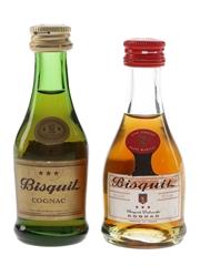 Bisquit 3 Star Cognac Bottled 1970s 2 x 3cl