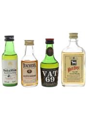 Black & White, Teacher's, Vat 69 & White Horse Bottled 1960s-1980s 4 x 5cl