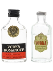 Bartolome Canellas & Romanoff Vodka Bottled 1960s 2 x 5cl