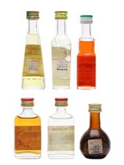 Assorted Italian Liqueurs Galliano, Mand Averna, San Marino, Solado & Strega 6 x 2.5cl - 3cl