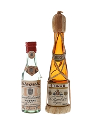Bisquit 3 Star & Staub VO Cognac Bottled 1940s-1950s 2 x 3cl / 40%