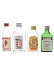 Booth's, Beefeater, Gordon's & White Satin Bottled 1970s-1980s 4 x 5cl