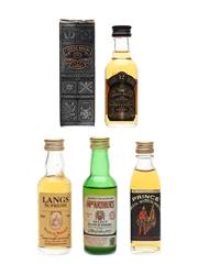 Chivas Regal, Lang's Supreme, MacArthurs & Prince Bottled 1980s-1990s 4 x 4.7cl-5cl