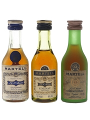 Martell 3 Star & Cordon Bleu Bottled 1970s 3 x 3cl / 40%