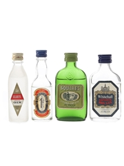 Gilbey's, Plymouth, Squires & Whitehall Gin Bottled 1970s 4 x 5cl / 40%