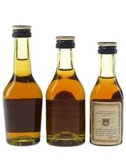 Martell 3 Star Bottled 1970s & 1980s 3 x 3cl-5cl / 40%