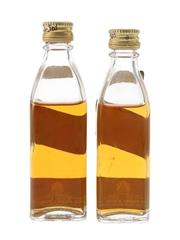 Johnnie Walker Black Label Bottled 1970s 2 x 4.7cl