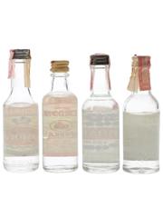 Fleischmann's, Gordon's, Relska & Samovar Bottled 1960s-1970s 4 x 5cl / 40%