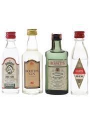 Bombay, Booth's, Burnett's & Gilbey's Gin Bottled 1970s-1980s 4 x 4.7cl-5cl / 40%