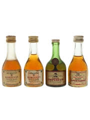 Bardinet Napoleon, Grand Empereur & Louis Baron Bottled 1970s 4 x 2.8cl / 40%
