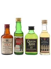 Crawford's, Hielanman, Seagram's & Queen Anne Bottled 1970s 4 x 5cl