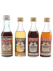 Cinzano & Stock Vermouth Bottled 1970s 4 x 5cl