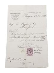 Loch Katrine Adelphi Distillery Receipts & Correspondence, Dated 1872 & 1899 William Pulling & Co.