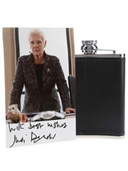 Macallan Hip Flask & Photograph Signed By Judi Dench