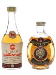 Buton Vecchia Romagna & SIS Cavallino Old Brandy Bottled 1960s 2 x 4cl
