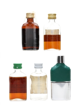 Davenports Spirits & Hipflask Set Bottled 1960s 4 x 5cl / 40%