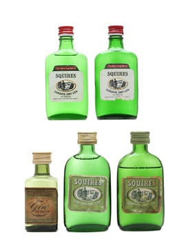 Squires London Dry Gin Bottled 1960s & 1970s 5 x 5cl / 40%