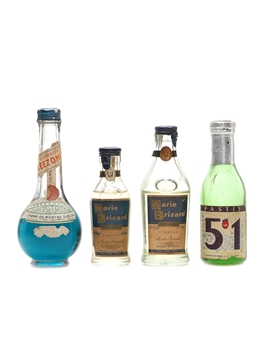 Assorted French Liqueurs Cusenier, Marie Brizard & Pastis 4 x 5cl