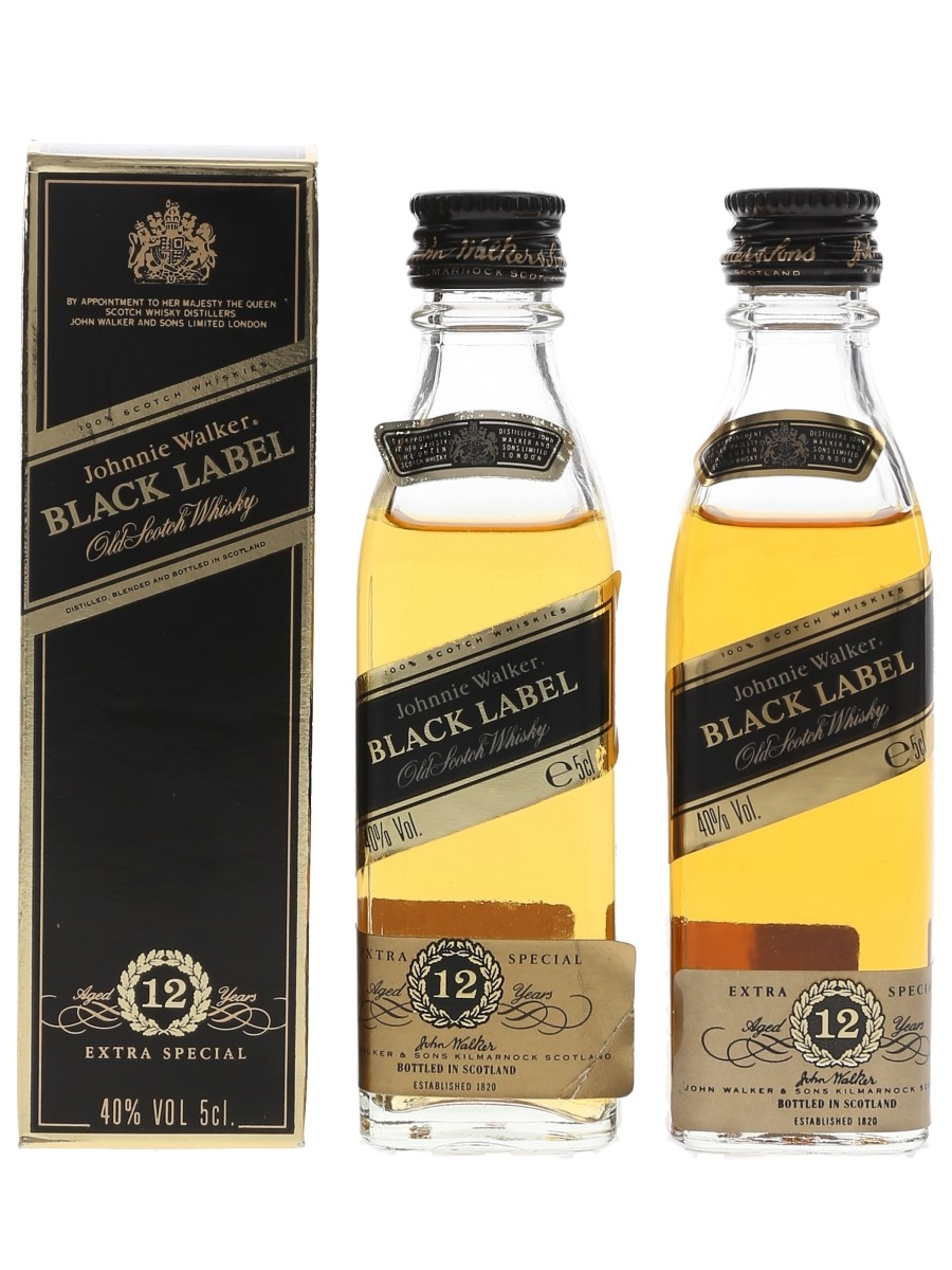 Johnnie Walker Black Label 12 Year Old Bottled 1990s 2 x 5cl / 40%