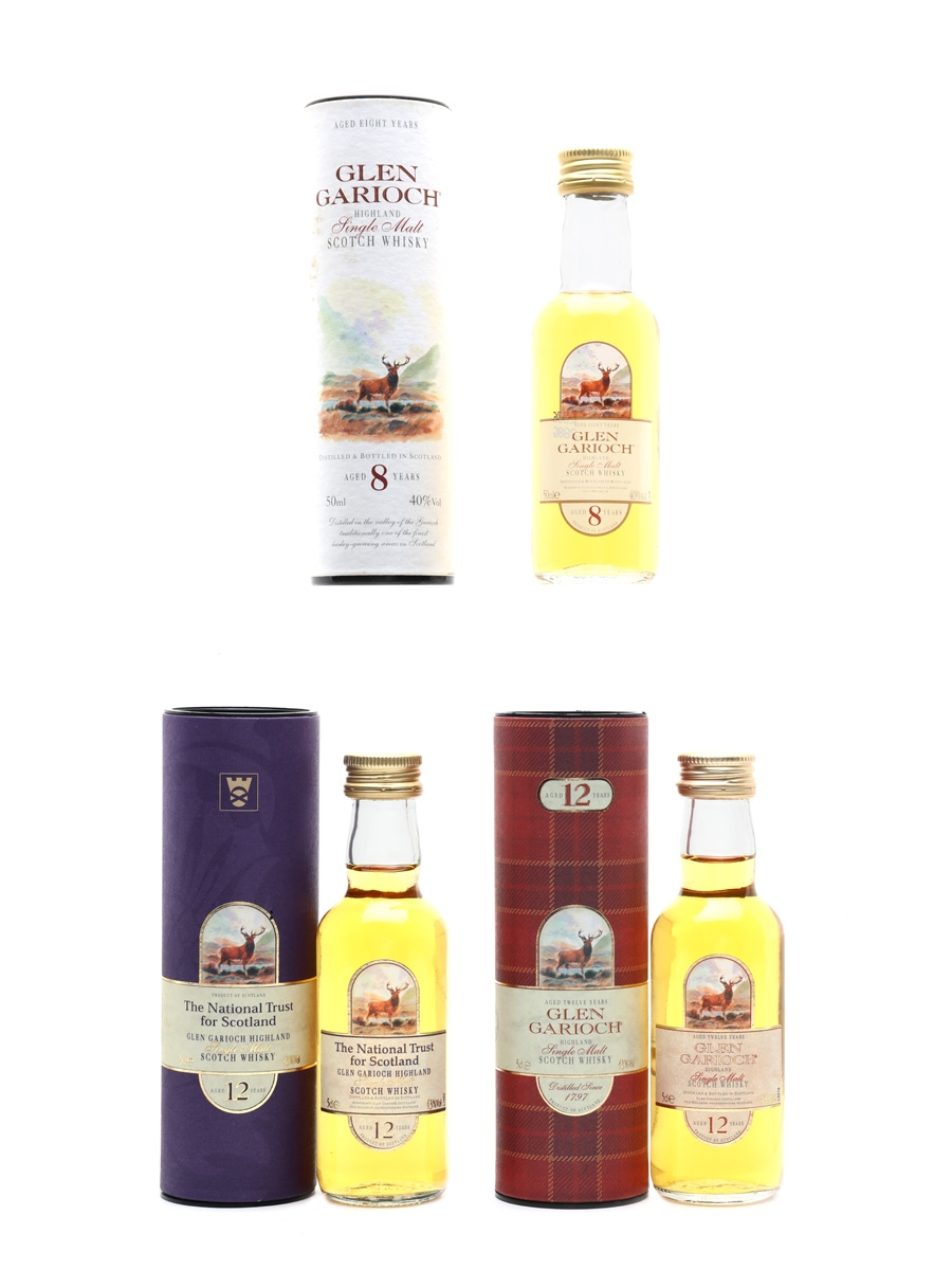 Glen Garioch 8 & 12 Year Old Bottled 2000s - The National Trust For Scotland 3 x 5cl