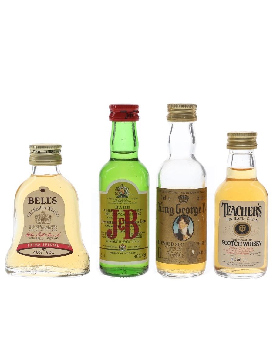 Bell's, J & B, King George IV & Teacher's Bottled 1980s 4 x 5cl / 40%