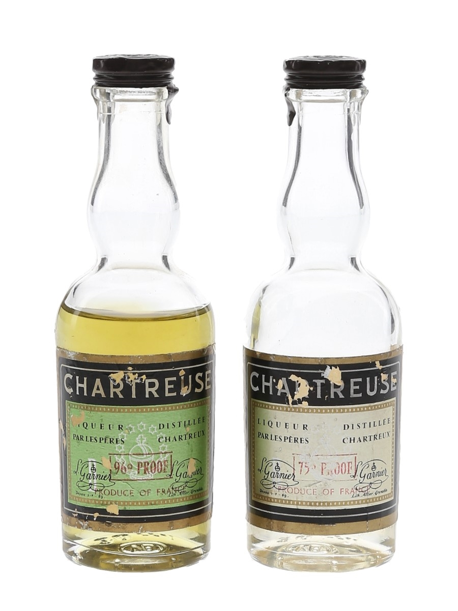 Chartreuse Green & Yellow Bottled 1960s-1970s 2 x 3cl