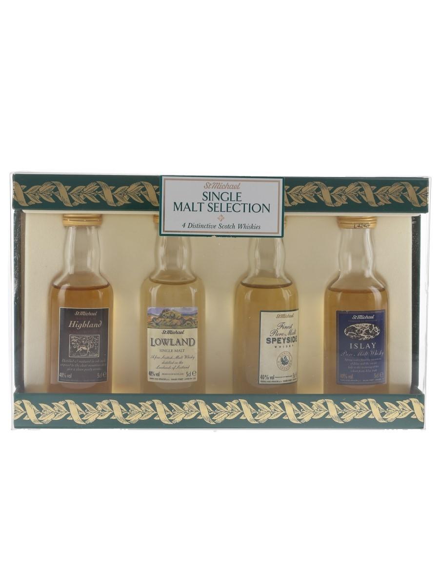 St Michael Malt Selection Bottled 1990s - Highland, Lowland, Islay & Speyside 4 x 5cl / 40%