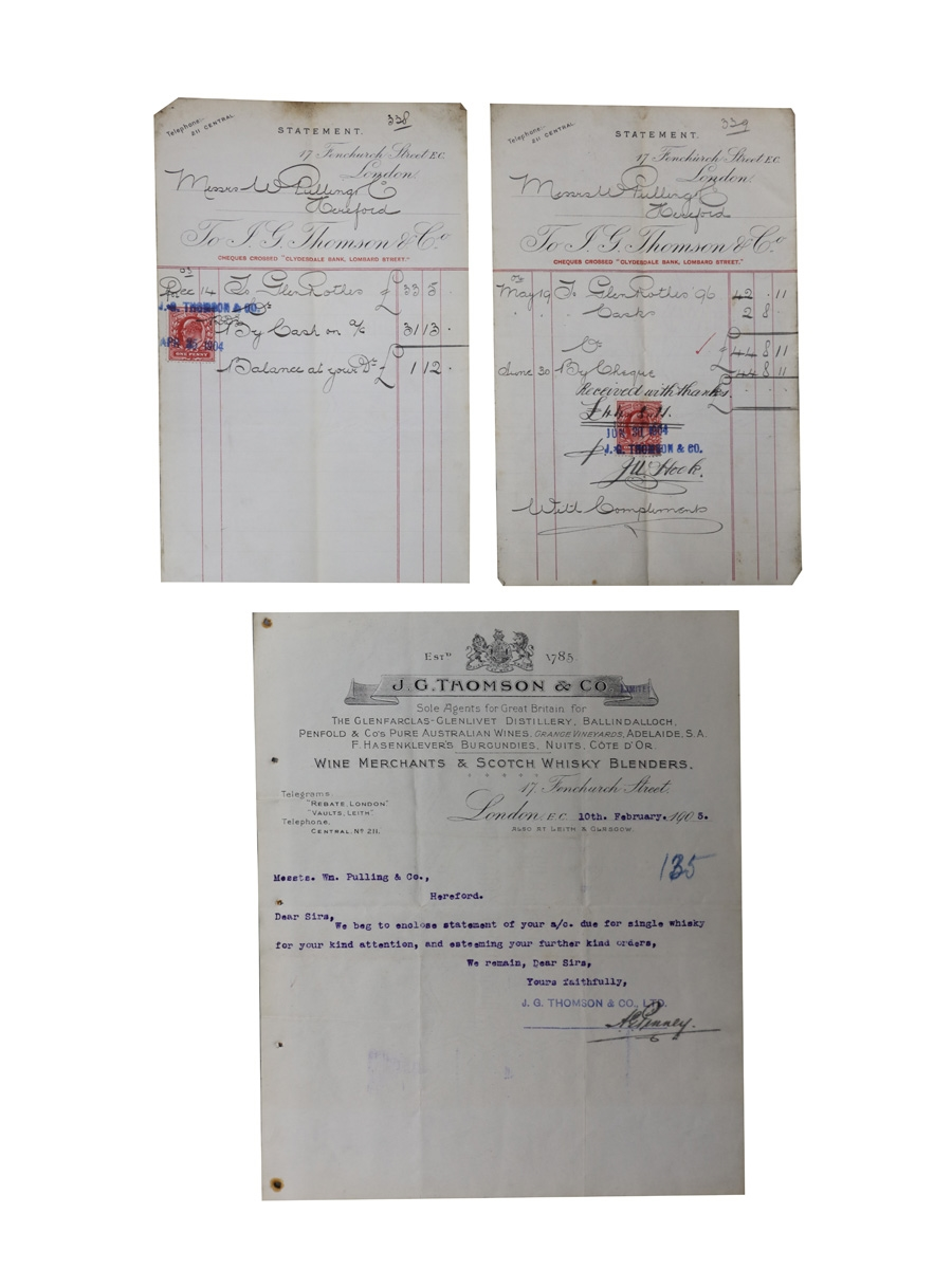 J G Thomson & Co. Correspondence & Receipts, Dated 1904-1905 William Pulling & Co.
